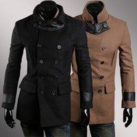 leather trench coat - Hot sale Men Slim Jacket Hot Stylish Woolen Jacket leather patchwork Designed Double breasted Trench Coat black overcoat free ship