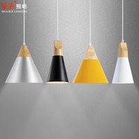 Wholesale Free Shpping New Colorful Modern Simple DIY Creative Aluminum art Soild Wood E27 Fashion loft Pendant lights dining room lights l