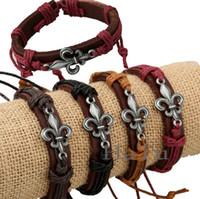 Infini mens bracelet Avis-12pcs / lots Vente en gros NOUVEAU Mode de bijoux en cuir Cute Infinity Charm Bracelet Amant cadeau Christian mens bracelets bracelet d'amitié