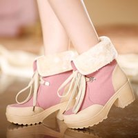 Wholesale Fashion Women Snow Boots Lace Up Fur Round Toes High Rough Heel Trendy Ladies Winter Warm Shoes Black Pink Green Brown Colors