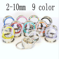 Wholesale color stainless steel ear tunnel plugs ear expander stretchers piercing jewelry SS