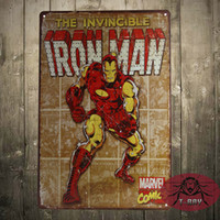 antique street signs - Marvel Comics Iron Man Retro Comic Art Panels Weathered Tin Sign Poster Man cave retro style Street Rod for the Garage