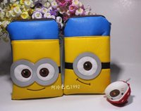 Wholesale Despicable ME fashion Leather Zipper Phone bag Minion kawaii Messenger Bags little yellow guy children school bag