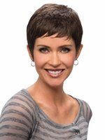 Wholesale Cute pixie cut wigs for women Short Brown wig Straight hair Peruca curta Synthetic wigs with bangs SW0088