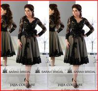 semi formal dress - Jajja couture Sheer Long Sleeve Evening Dresses Modern V Neck Short Knee Length Black Lace Tulle Semi Formal Arabic Dubai Party Gowns