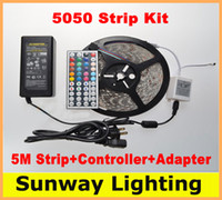 Wholesale LED Strip Light Individual Packing RGB Strip Lights waterproof Volt M LED Kit key Remote Controller A Adapter
