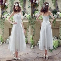 Wholesale 2017 New Arrival Lace Wedding Dresses Sheath Strapless Pleats with Lace up Back Tea Length Bridal Gowns CPS240