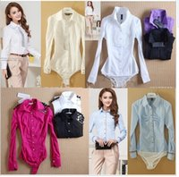 Wholesale Hot New Arrival Slim OL stand Casual pure long sleeve Body shirt women Bodysuit ladies blouses
