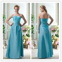 affordable drapes - Hot Sale A Line Strapless Floor_Length Zipper Blue Draped Bridesmaid Dress Affordable Satin Sleeveless Bridesmaid Dresses WH0923