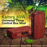 18650 Kamry 80W Wooden 2016 Newest Original Kamry 80W Universal TC Box Mod Wooden E-cigarette 18650 Mods Support NC Ni Ti Wire Coils 510 thread Tank Atomizers