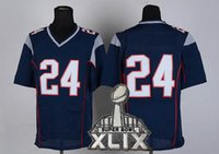 authentic football kits - Navy Blue Elite Champion Football Jerseys with FREE Super Bowl XLIX Patch Top Selling Authentic Embroidered Football Uniform Kits
