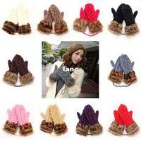 Wholesale Cute Ladies Girls Mitten Knitting Wool Fur Halter Wrist Winter Warm Gloves
