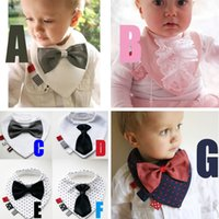 Wholesale Girls Boys Tie Bibs Saliva Towel Fashion Baby Saliva Towels Infant Saliva Towels Kids Dot Lace Tie Burp Cloths Children Cotton Bibs FS GD393
