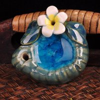 Wholesale Thai ceramic incense plate inserted incense cone incense tower incense holder tray Plumeria