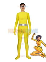 alex performance - Totally Spies Alex Yellow Spandex Superhero Costume zentai suit stage performance cosplay costume