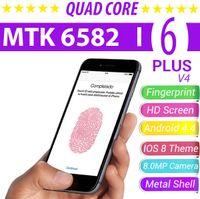 6 inch phone - Metal HDC Goophone I6 Plus V4 Unlocked Phones inch Android MTK6582 Quad Core RAM GB ROM GB IOS Theme Real Touch ID Fingerprint