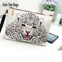 Gros-2015 Jour Enveloppe New Vintage Haute Qualité Cheap Doodle Leopard sac à main d'embrayage Cosmetic Effacer les femmes Messenger Bag H016E