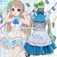 Wholesale 1511 Anime LoveLive Minami Kotori maid dress costume Love live Wedding Cosplay Costume Alice Lolita maid dress Green bow Apron