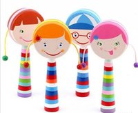 Wholesale Children baby educational learning toys wooden Hand painted rattle drums