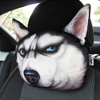 animal print car seat covers - New Cool Lovely D Printed Animals Face Car Headrest Pillow Activated Carbon Seat Covers Neck Auto Safety Headrest Supplies