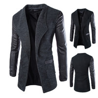 Wholesale Fall new arrival long black trench coat men fashion personality leather sleeve pathwork mens trench coat