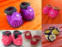 hand knit baby sweater - Beautiful flowers pearl buckle baby sweater toddler shoes Hand knitted crochet shoes Spring Autumn boy indoor shoes pair