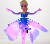 Wholesale new Flying Infrared Induction LED Frozen Doll Frozen Princess Toys Theme Music Elsa Anna Dolls Toys Brinquedos Kids Girls with retail box