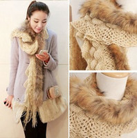 apparel winter glove - winter Real raccoon fur scarves Knit Wool Scarf apparel accessories warm winter WJ3011