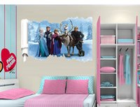 Wholesale Hot Sale Cartoon Frozen Queen Olaf Anna Kids Baby Art Wall Stickers Decals Decor cm