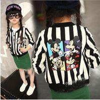 Wholesale MOQ autumn new Korean girls Long Sleeve Stripe cartoons boy open type kid clothing children s Jacket top Children s Outwear FREE ship