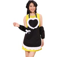 Wholesale Factory Direct Avental The Maid Hearts Aprons Korean Beauty Cute Aprons Cute Large Pocket with Ribbon Black Apron Delantal