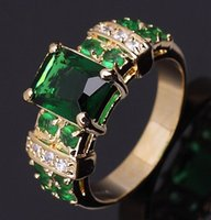 With Side Stones emerald ring - sale Fancy size Jewelry Rings ladies Green Emerald Stamp KT Anniversary Gift Yellow Gold Filled women s Rings R003YGE