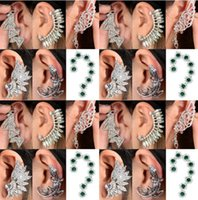 Wholesale 50PC Mix Styles Punk Rock Retro Fashion Earring Crystal Rhinestone Leaf Ear Cuff Warp Clip Stud Fashion Crystal Jewelry Free