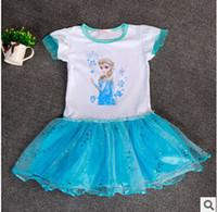 Cheap 2015 Baby Girls summer Dress short sleeve Frozen dresses Elsa Anna Dress Children's Party Dress Princess Costume party dress 1071