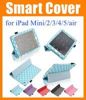 ipad case - High Quality Fold Polka Dots Leather Wallet smart Case Cover For apple iPad Air ipad iPad Mini sleep and wake cases covers PCC048