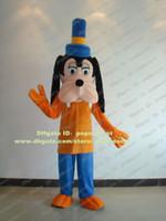 goofy costume - Lively Black Goofy Dog Mascot Costume Puppy Doggie Pup Cutu Wearing Blue Tall Hat Mascotte Mascota Adult Suit No Free Ship