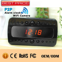 alarm ip phone - 1080P WiFi IP Camera Clock Night Vision Remote Surveillance Camera Full HD Alarm Clock DVR Video Record P2P For Iphone Android Phone T10
