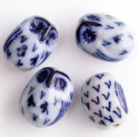 Wholesale 60pcs Blue and White Color Ceramic Porcelain Handcraft x21mm Owl Shape Spacer Loose Beads Fit Necklace Bracelet Jewelry DH CH983