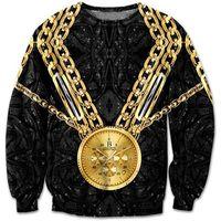 Wholesale new fashion women mens D sweatshirt vintage print gold chain watch cool black pullover hoodies hip hop streetwear