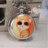 Wholesale Hot sale fashion quartz Lovely cat Enamel watches Unique design Children pendant gift Necklace pocket watches