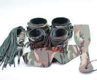 adult cloth - SMspade bondage Adult Sex Products Restraint Kit Camouflage Cloth Blindfold Hand cuffs Whip Anklecuffs Spanking Paddle Set
