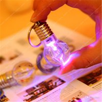 Wholesale Arrival LED Keychain Bulb Shaped Ring Light Keychain Flashlight Colorful Key Ring Keychain Lamp Rainbow Color Lover Keychain Necklace