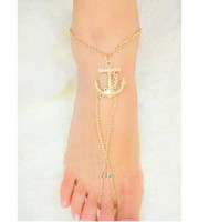Wholesale Gold Plated Anchor Anklet Foot bracelets Barefoot sandals Anklets for women Sexy Tin chain Beach anklets jewelry