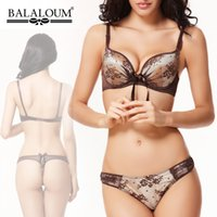 Wholesale Fashion balaloum cotton cup comfortable and sexy push up bra women s underwear set C CUP