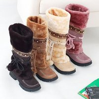 Wholesale 2015 Winter Fashion Women Lace Up FUR LINED Winter Warm Flat Knee High Snow Boots Lady Ski Snow Shoe