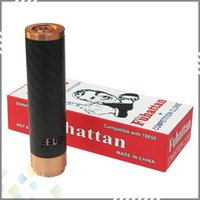 Wholesale Hottest Fuhattan Mod Red Copper E Cigarette Machanical Mods Clone USA Manhattan Mod Carbon Fiber Fuhattan Mods Magnet Bottom e Cig Mods