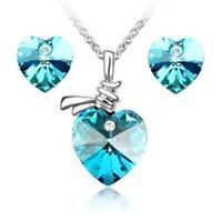 Wholesale Min order mix Hot Jewelry set fashion jewelry minimalist Austrian crystal earrings peach heart necklace
