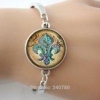 art nouveau bracelet - Fleur de Lis bangles with Cherubs Aqua on Tan Parchment Vintage Inspired Handcrafted Keepsake Pendant Art Nouveau silver bangles