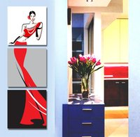 Cheap 3 Panel Modern Painting Home Decorative Art Picture Paint on Canvas Prints The woman that show a shoulder