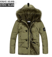 men winter down coat jacket - NEW IsLands mens jacket Winter duck parka Down coats for Men Hooded long sleeve big fur collar outwear M XXL